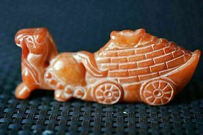 Unique Chinese Old Jade Carved *Horse Drawn Vehicle* Pendant/Statue 马拉车 Y36