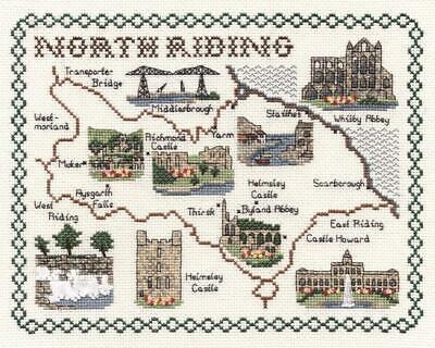 Map of North Riding of Yorkshire - Classic 14ct Counted Cross Stitch Kit