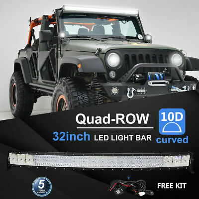 32Inch Quad-Row 4080W Curved LED Light Bar Flood Spot Offroad Truck ATV PK52