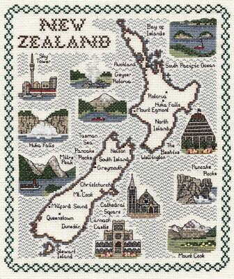 Map & Sights of New Zealand - Classic 14ct Counted Cross Stitch Kit