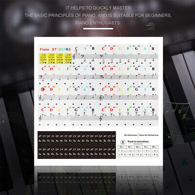 54/61/88 Key Note Piano Keyboard Sticker Transparent Decal Musical Instrument