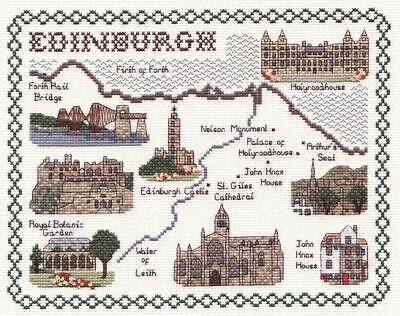 Map & Sights of the City of Edinburgh - Classic 14ct Counted Cross Stitch Kit