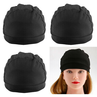 Black Spandex Dome Cap for Making Wigs Nylon Snood Stretchy Hairnet Cap 3x