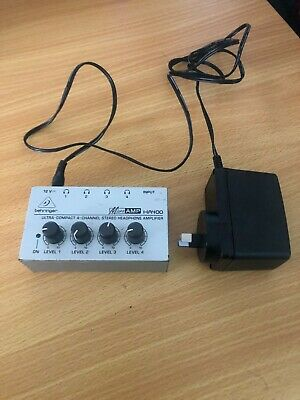 Behringer HA400 4 Channel Headphone Amplifier 1 in 4 out used.