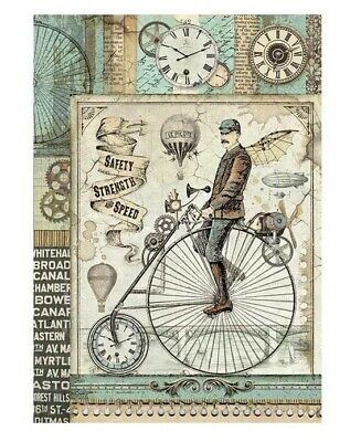 Stamperia Rice Paper VOYAGES FANTASTIQUES GEARS A4 Sheet DFSA4269 Decoupage