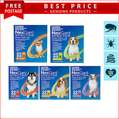 NexGard Spectra 6 Doses for Dogs Tick Flea Heartworm and Worm Prevention