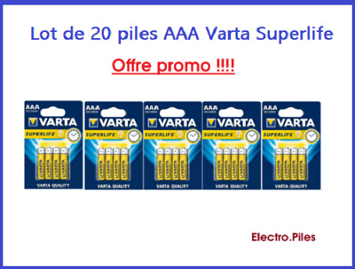 Lot de 20 Piles Varta zinc carbone Superlife AAA LR03 prix cassé !!