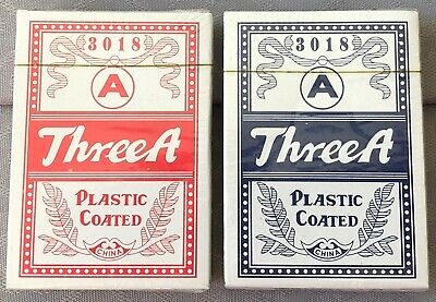 Three A Plastic Coated Budget Poker Size Playing Cards - New, Sealed Decks