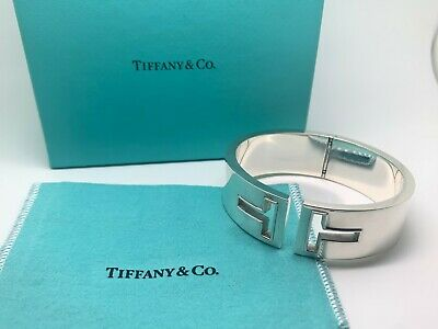 Tiffany & Co T Cutout Hinged Cuff Bangle Silver - RETIRED