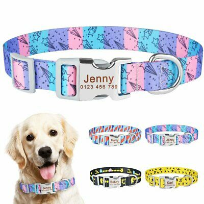 Adjustable Personalised Dog Collar Custom Engraved Name ID Tag Pet Puppy S M L