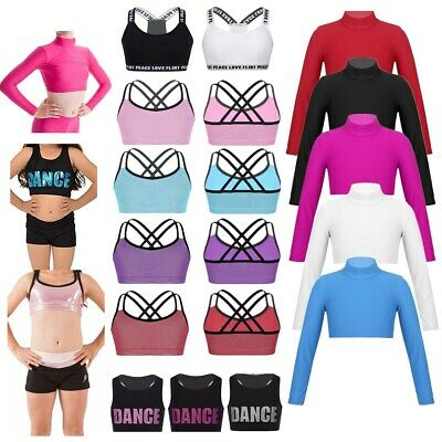 Kids Girls Dance Sports Crop Top Bra Top Fitness Training Ballet Dancewear Vest