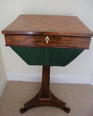 Antique Rosewood work table / basket with inlaid Chess board. Late Regency.