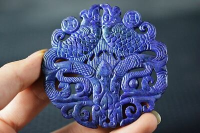 Delicate China Old Purple Jade Hand Carved *Fishes/Dragon* Lucky Pendant Z5