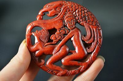 Chinese Old Jade Carved *Phoenix/Sexy Man&Woman* Lucky Pendant Z5