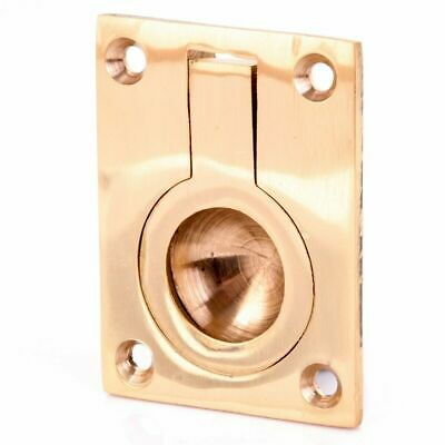 FLUSH FIT Solid Brass FURNITURE RING PULL HANDLE 63mm Recessed/Finger/Cabinet