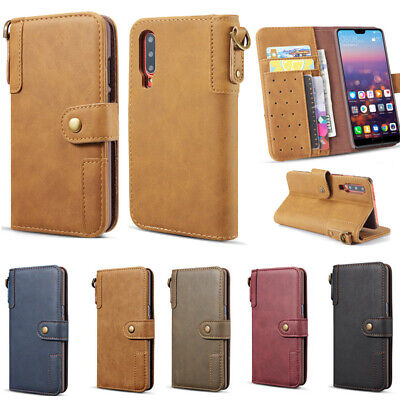 For Samsung Note 10 Plus A70 Genuine Leather Flip Card Holder Wallet Case Cover