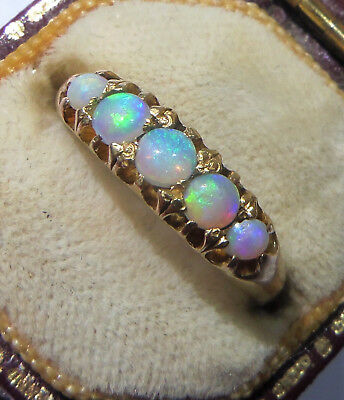 Antique Victorian 18ct Gold Opal 5 Stone Eternity Ring, Size K