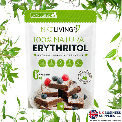 Erythritol Granulated 1kg by NKD Living - Zero Calorie Sweetener with Stevia