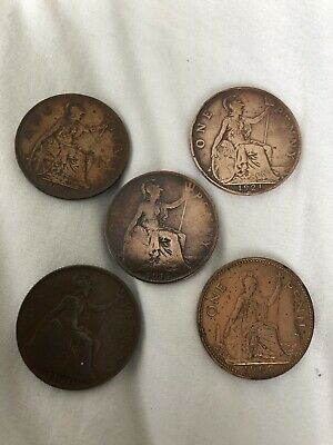 Old King George V1 Penny Coins X 4 + 1 Dates =1917/20/21/27/47*Collectors Item*
