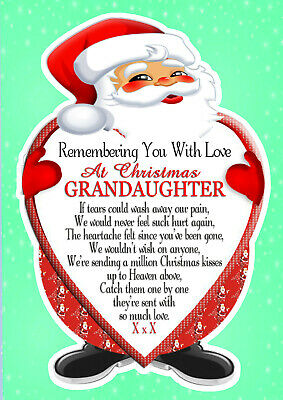 Christmas Memorial Grandaughter  Rememberance Graveside Card & Holder 1
