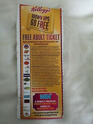 Kelloggs Free Adult Entry 2 for 1 vouchers Merlin/ Legoland/ London Eye VOUCHER
