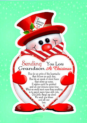 Christmas Grandson Graveside Rememberance Memorial Bereavement Card & Holder