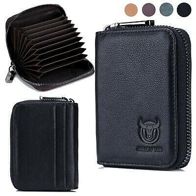 Mens Womens Wallet Genuine Leather RFID Zipper ID Credit Card Coin Holder Case