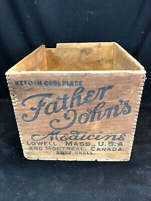 Antique Father John's Medicine Crate Box Lowell Mass Montreal Canada