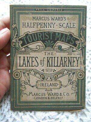 Antique 19thc MAP THE LAKES OF KILLARNEY IRELAND MARCUS WARD HALFPENNY SCALE MAP
