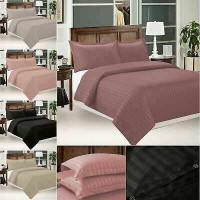 Satin Stripe Duvet Cover With Pillow Case Cover Bedding Set Single Double UK