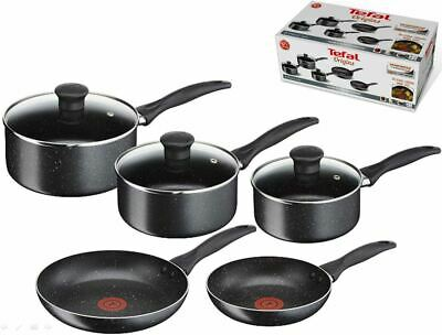 Tefal Non Stick Origins 5 Piece Set - 2 x Frying Pan & 3 x Saucepan with Lids