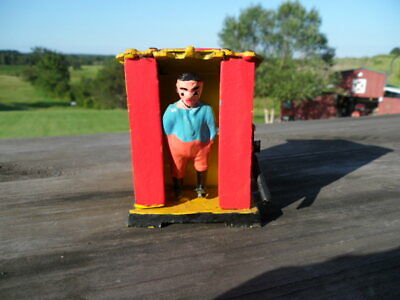 Vintage Metal Coin Bank ~ Pull the Handle & the Man Kicks the Coin In