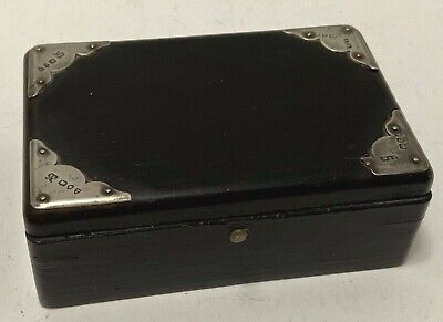 """Antique English Rosewood Box Sterling Silver Corner Plates 4x2.5"""" Lock Dovetails"""