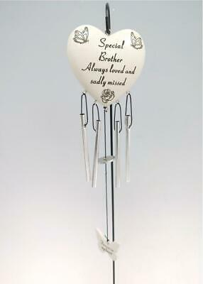 Brother Heart Memorial Wind Chime Tribute Plaque Ornament Butterfly Graveside