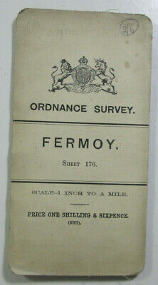 1899 Old OS Ordnance Survey Ireland One-Inch Second Edition Map 176 Fermoy