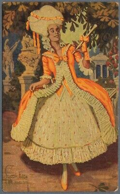 Vintage Postcard Beautiful Girl Victorian Style Modern Dress by F. Lehmann