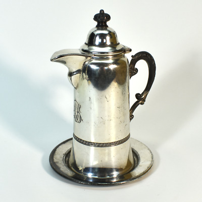 Antique Silverplate Syrup Pitcher w Underplate Beacon Silver Co. FB Rogers 810