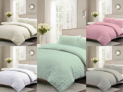 Luxury Seersucker Duvet Cover with Pillow Case 50/50 Polycotton Bedding Set