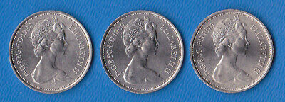 1968 + 1969 + 1970  Large Five New Pence. Issued pre-decimal day   Lovely coins