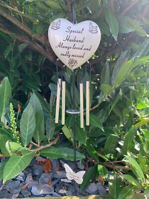 Husband - Heart Memorial Wind Chime Tribute Plaque Ornament Butterfly Graveside