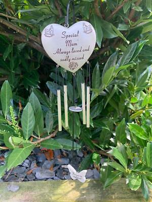 Mum - Heart Memorial Wind Chime Tribute Plaque Ornament Butterfly Graveside