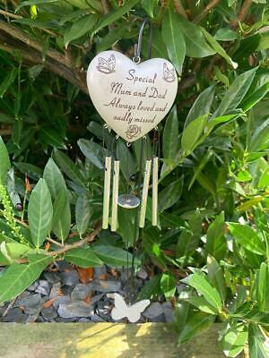 Mum and Dad -  Heart Memorial Wind Chime Tribute Plaque Ornament Graveside