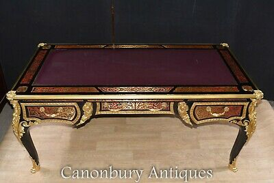 Boulle Desk - French Bureau Plat Writing Desk Marquetry Inlay