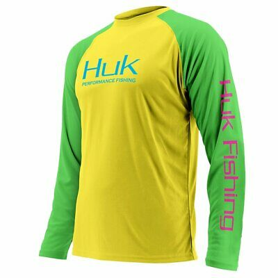 Save 40% HUK YOUTH PERFORMANCE COLOR BLOCK LS Fishing Shirt-Pick Color/Size
