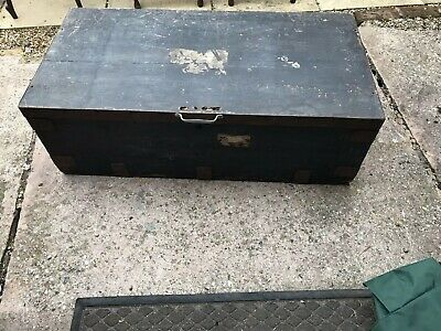 Antique Metal Bound Pine Trunk/ Coffee Table Good Size Not Stripped