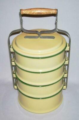 Vintage Chinese Yellow Enameled STACKABLE LUNCH BOX-FOOD CARRIER (Tiffin Box)