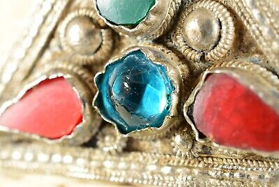"""Antique Handmade Jeweled Middle Eastern Necklace with Pendant 16"""""""