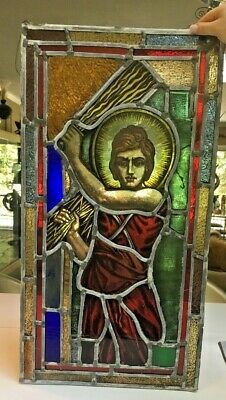 Antique 1870s SPECTACULAR Stained glass church window~Ruth with Sheaves of wheat