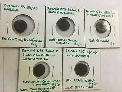 Lot Of 5 Misc Ancient Roman Coins  -39C