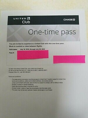 One United Airlines UA Club One-Time Pass- Quick E-Delivery- Exp July 25, 2020
